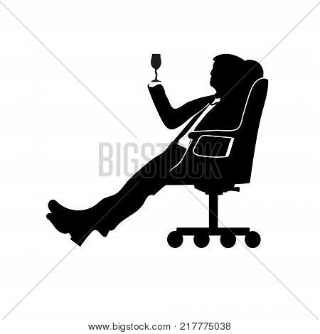 Silhouette man businessman sitting in a modern chair with one leg over the knee. Thinks. Motif favorite songs. To drink. Success.
