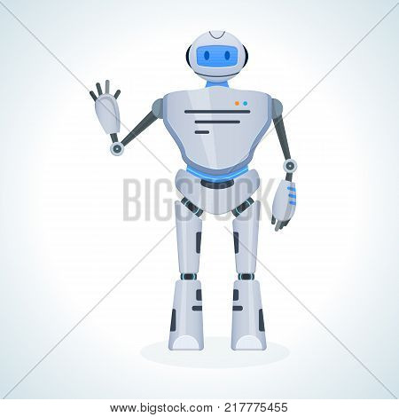 Electronic robot, chat bot, humanoid, welcomes raising hand up. The robot is an artificial intelligence system. Voice support. Innovation intelligence technology science future. Vector illustration.