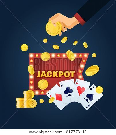Glowing casino sign Las Vegas. Lucky, success, financial growth, money profit. Hand holds gold coins. Person playing in casino won big win, jackpot. Good luck, victory, happy. Vector illustration.