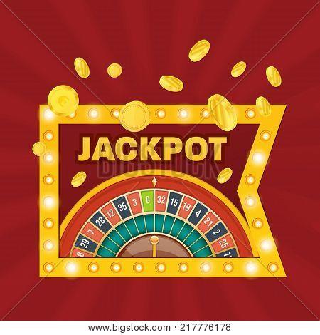 Glowing casino sign Las Vegas. Casino jackpot winner. Lucky, success, financial growth, money profit. Slot machine in casino, lottery, roulette, gambling. Winner leader happy man Vector illustration