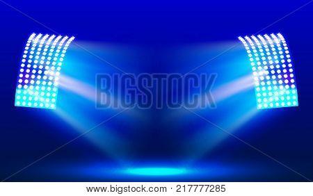 EPS10. Searchlights in the stadium field. Illuminations. Vector illustration