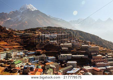 Panoramic view of Namche Bazaar, Everest trek, Himalaya, Nepal.