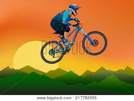 Image of a cyclist on a background of mountains and evening sky - vector