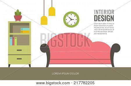 Modern interior design of a living room. Banner template for design studio web design shops and sales. Flat design illustration.