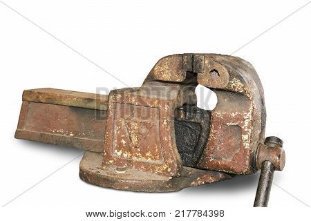 Large vintage cast iron vise for a variety of types of technical work. Presented on a white background.