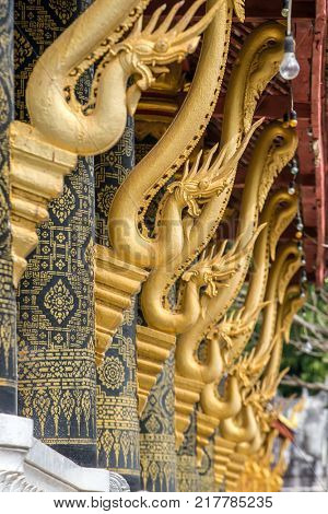 Decoration of the Wat Mahathat - a Buddhist temple in Luang Prabang, Laos