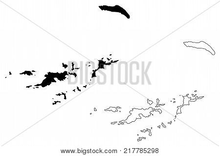 British Virgin Islands map vector illustration , scribble sketch British Virgin Islands