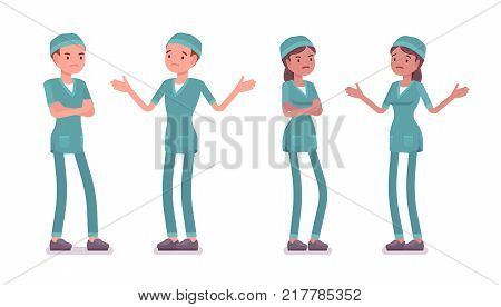 Male and female nurse in negative emotions. Young workers in hospital uniform, tired and exhausted. Medicine and healthcare concept. Vector flat style cartoon illustration isolated on white background