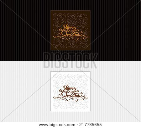 Greeting cards with a text inscription Merry Christmas. Hand drawing inky lettering and calligraphic design elements. Vector illustration of congratulatory postcard banner flyer leaflet of 8.5x3.66