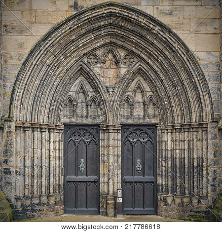 The main entrance to the magnificent Glasgow cathedral in Scotland.