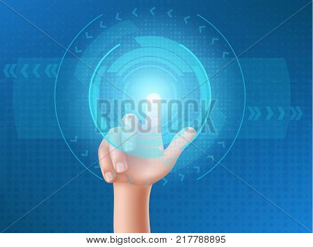 Human hand press with the index finger on touchscreen, clicks his finger on the glowing holographic screen. Interface design concept on a blue background