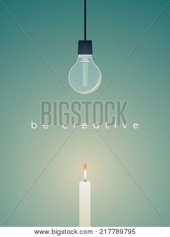 Creative solution business vector concept with broken lightbulb and candle light burning. Simple solution for success. Eps10 vector illustration.