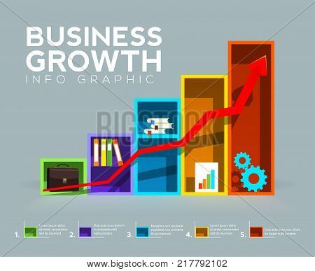 Bar Chart with arrow. Looks like office shelves. and Business Growth concept. Business info graphic. Vector illustration