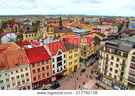 Ivano-Frankivsk / Ukraine - 29 October 2017 / Ukraine: view to Ivano-Frankivsk from a bird's eye view. View from above. 29 October 2017 Ivano-Frankivsk, Ukraine.
