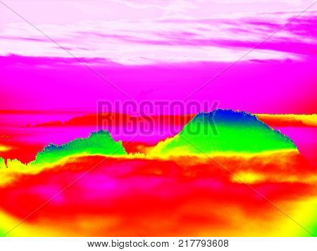 Thermography Photo. Animal View. Spring Landscape. Hills, Forest And Fog With Chaned Colors To Ultra