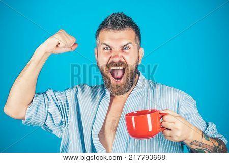 Red Mug With Alarm, Perfect Morning.