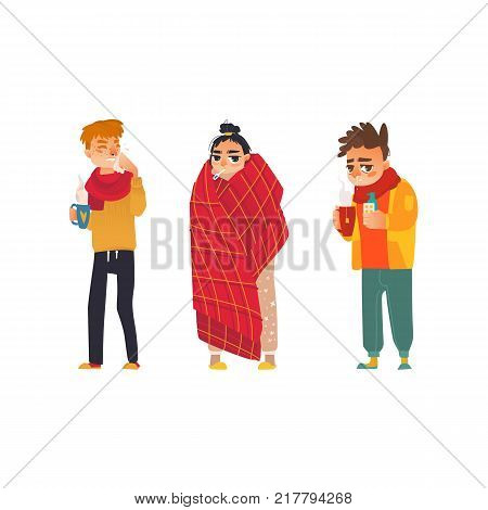 vector flat young sick men in scarf suffering from runny nose, sneezing holding cup of hot beverage, pills, napkins, spray and girl with thermometer suffering from temperature. Isolated illustration