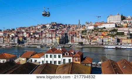 Bird's-eye view old downtown of Porto from Vila Nova de Gaia, Portugal.