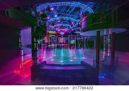 Grodno, Belarus - July 13, 2013: Colorful Interior Of European Stylish Night Club With Bright Lights