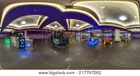 Minsk, Belarus - September 20, 2016: Panorama In Interior Of Childrens Entertainment Center With Slo