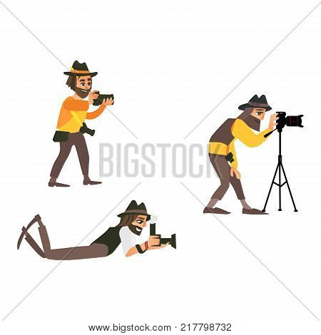 vector cartoon photographers, professional male characters making photo standing, lying on the floor and holding tripod set. Isolated illustration on a white background.