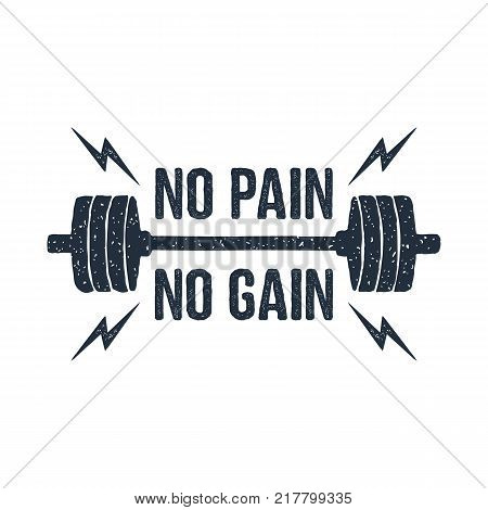 Hand drawn barbell textured vector illustration and