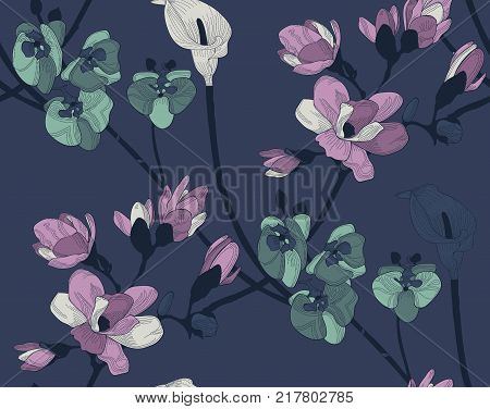 Vector Dark Colorful Decorative Seamless Background Pattern with Drawn Flowers, Cherry Blossom, Callalily, Orchid. Hand Drawn. Vector Illustration with Pattern Swatch. Twilight Flowers