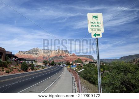Highway  winds its way through the scenic Arizona desert