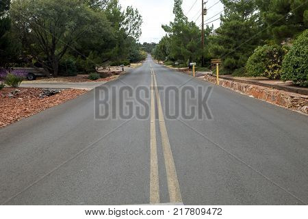 The residential road along side the Pioneer Pathway in Arizona