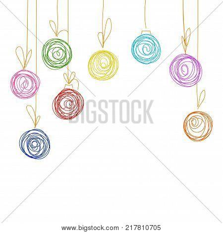 Vector hand drawing sketch Christmas tree balls. Illustration of Christmas greeting invitation card from eight Christmas balls