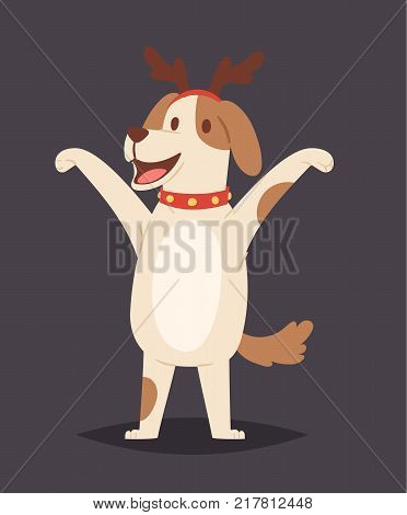 Christmas dog vector cute cartoon puppy character illustration pet doggy deer horn hat Xmas celebrate pose illustration.