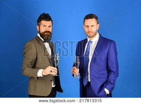 Business And Celebration Concept. Managers With Beards