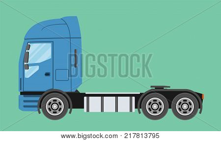 Big commercial semi truck. Trailer truck in flat style isolated. Delivery and shipping business cargo truck. Vecror illustration.