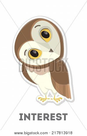 Isolated interested cartoon owl on white background.