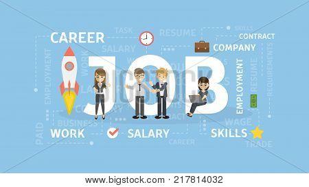Job concept illustration. Idea of career, company and salary.