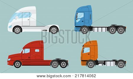 Big commercial semi truck with trailer. Trailer truck in flat style isolated. Delivery and shipping business cargo truck. Vecror illustration.