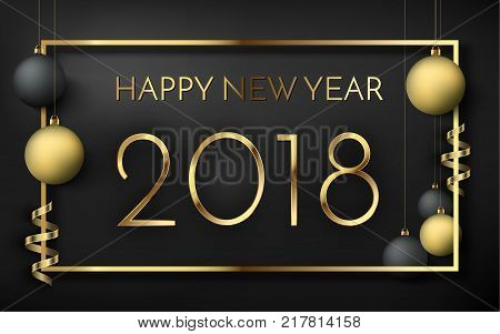 2018 Happy New Year A Beautiful Gold Illustration On A Black Background With Bokeh And Ligthing Flar