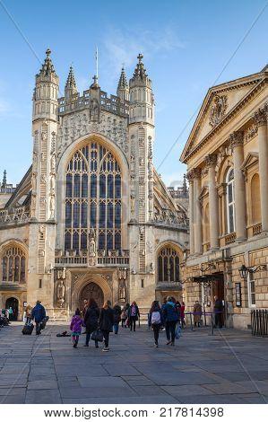 Bath Abbey. Ordinary People Walk On Square