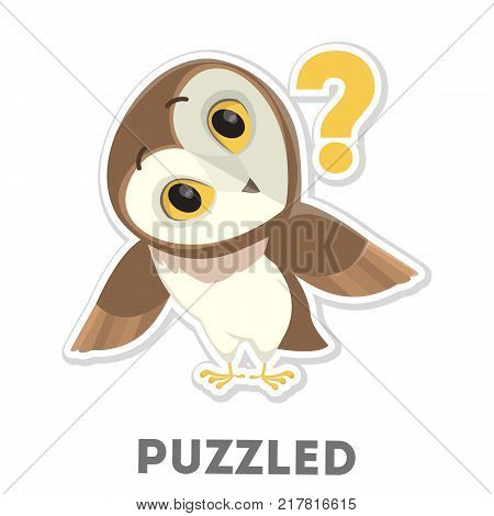 Isolated puzzled cartoon owl on white background.