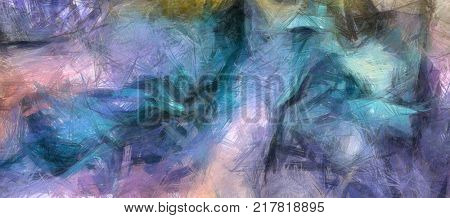 Muted abstract painting in pastel colors. 3D rendering