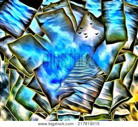 Surreal painting. Figure of man goes on stairway to the light. Overlapping multi layered spaces. 3D rendering