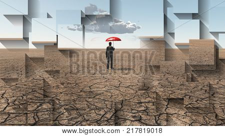 Man in desert with umbrella and single cloud. 3D rendering