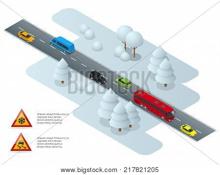 Slippery, ice, winter, snow road and cars. Caution Snow. Winter Driving and road safety. Urban transport