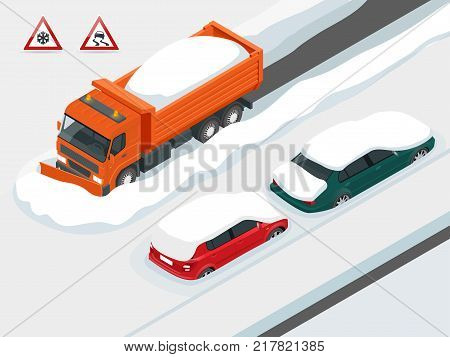 Snow plough truck clearing road after white-out winter snowstorm blizzard for vehicle access. Cars covered in snow on a road during snowfall. Can be used for advertisement, infographics, game