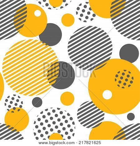 Geometric seamless pattern with circles, stripes, dots. Pattern for fashion and paper. Vector illustration.