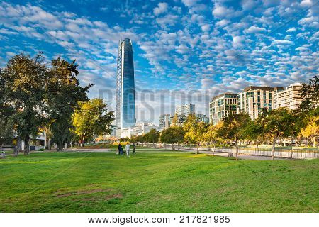 Santiago Region Metropolitana Chile - May 14 2017: View of the modern skyline of buildings at Providencia district from Parque de las Esculturas.