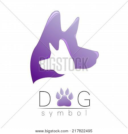 Dog logo vector. Violet trend gradient. silhouette pet. Paw symbol. Label for web, clinic, shop, medical, care, logotype. Creative company concept. Identity style 2018 New year of Dog