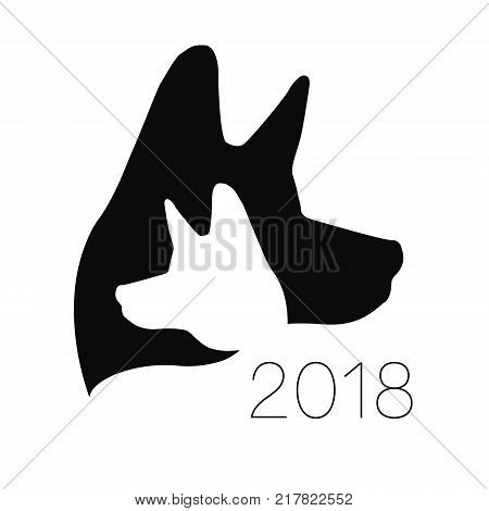 Dog logo vector. Black color . silhouette pet. Paw symbol. Label for web, clinic, shop, medical, care, logotype. Creative company concept Identity style 2018 New year of Dog