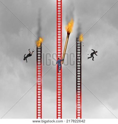 Criminal practices and corporate crime concept as a cruel agressive businessman burning the competition with 3D illustration elements.