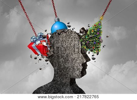 Holiday headache as a human head shape made of concrete being pounded by christmas symbols as a seasonal depression and stress concept as a 3D illustration.